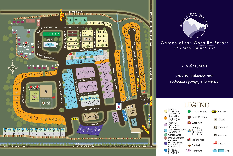 Resort Map At Garden Of The Gods Rv Resort Colorado Springs Camping